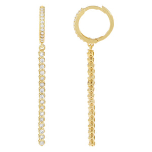 Gold CZ Bar Drop Huggie Earring - Adina's Jewels