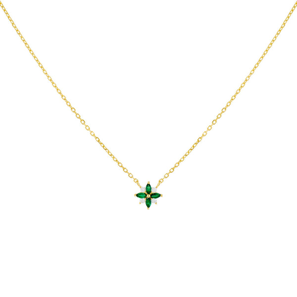 Emerald Green CZ Crystal Flower Necklace - Adina's Jewels