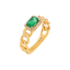 Emerald Green / 6 Diamond Emerald Green Baguette Braided Ring 14K - Adina's Jewels