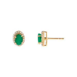 Emerald Green Diamond X Emerald Oval Stud Earring 14K - Adina's Jewels