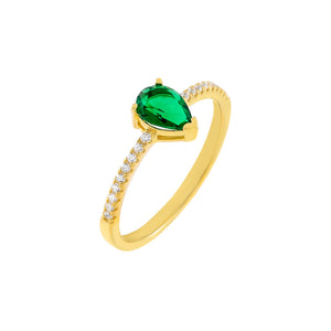 Emerald Green / 6 CZ Emerald Green Teardrop Ring - Adina's Jewels