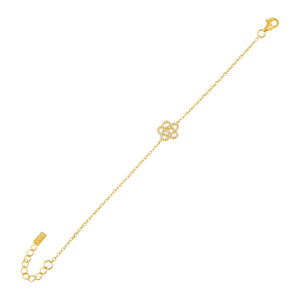 Gold CZ Rose Flower Bracelet - Adina's Jewels