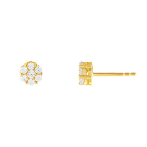 Gold / 6.5 MM Mini CZ Flower Stud Earring - Adina's Jewels