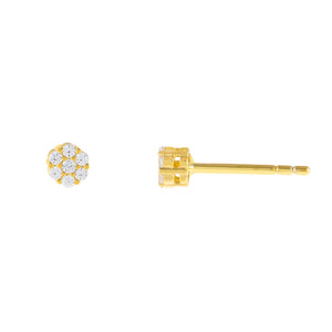 Gold / 4 MM Tiny CZ Flower Stud Earring - Adina's Jewels