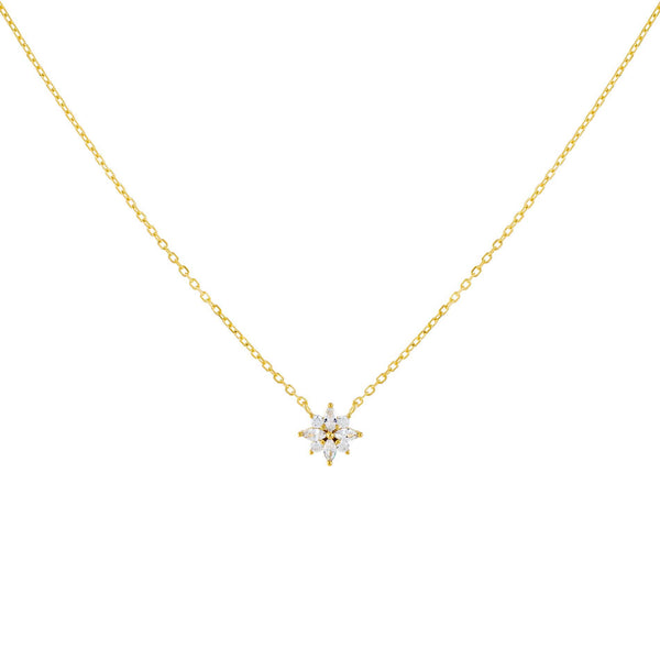 Gold CZ Crystal Flower Necklace - Adina's Jewels