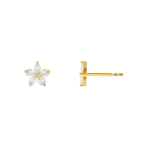 Gold CZ 5 Petal Flower Stud Earring - Adina's Jewels