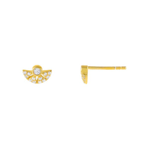Gold CZ Half Circle Stud Earring - Adina's Jewels
