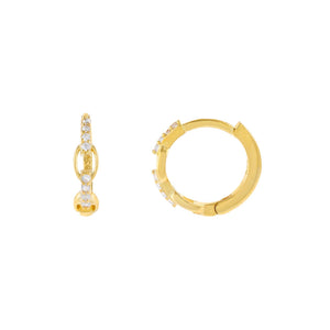Gold CZ Thin Link Huggie Earring - Adina's Jewels