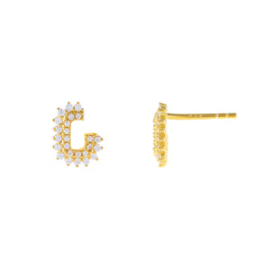 Gold CZ Hook Stud Earring - Adina's Jewels