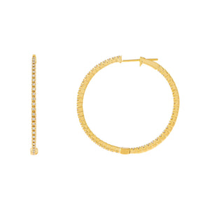 14K Gold / 35 MM Diamond Thin Hoop Earring 14K - Adina's Jewels