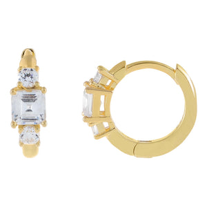 Gold CZ Multi Stone Huggie Earring - Adina's Jewels