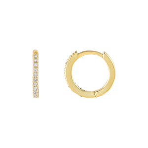 Gold Micropavé CZ Huggie Earring - Adina's Jewels