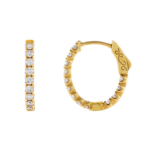 14K Gold Diamond Oval Hoop Earring 14K - Adina's Jewels