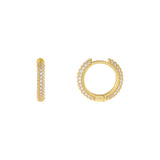 Gold Wide Pavé Huggie Earring - Adina's Jewels