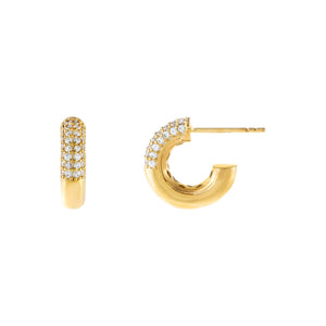 Gold Pavé X Solid Mini Hoop Earring - Adina's Jewels