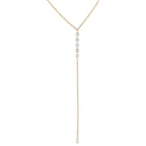 14K Gold Floating Diamond Lariat 14K - Adina's Jewels