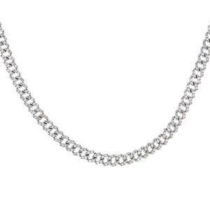 14K White Gold Diamond Cuban Clasp Choker 14K - Adina's Jewels