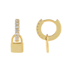 Gold CZ Mini Lock Huggie Earring - Adina's Jewels