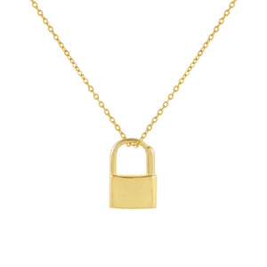 Engraved Double Sided Mini Lock Necklace - Adina's Jewels