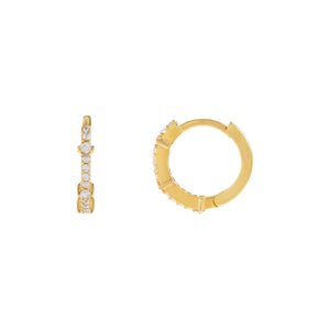 Gold CZ Thin Solitaire Huggie Earring - Adina's Jewels