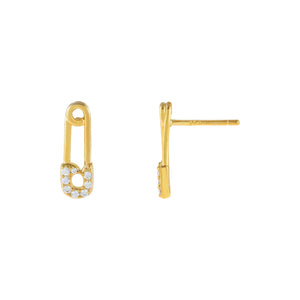Gold Tiny Safety Pin Stud Earring - Adina's Jewels
