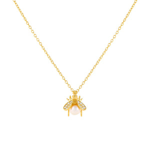 Pearl White CZ Pearl Bee Necklace - Adina's Jewels
