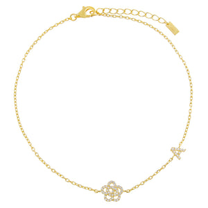 Gold / A Pavé Rose Initial Anklet - Adina's Jewels