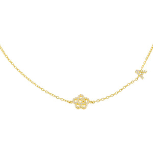 Gold / A Pavé Rose Initial Choker - Adina's Jewels