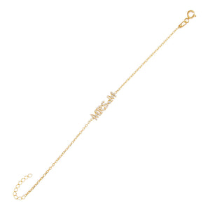 Gold / A Pavé Mrs. Nameplate Bracelet - Adina's Jewels