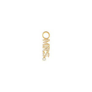 Gold Pavé Mrs. Nameplate Charm - Adina's Jewels