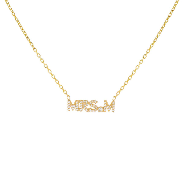 Gold / A Pavé Mrs. Nameplate Necklace - Adina's Jewels