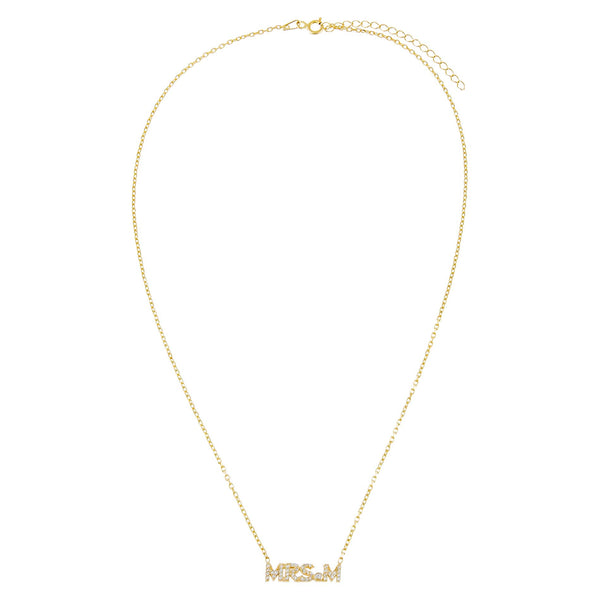 Pavé Mrs. Nameplate Necklace - Adina's Jewels