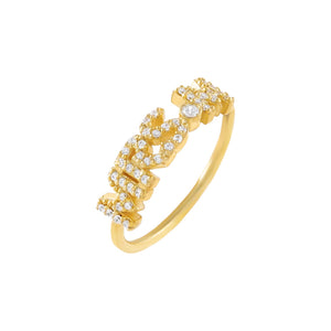 Gold / 5 Pavé Mrs. Block Name Ring - Adina's Jewels