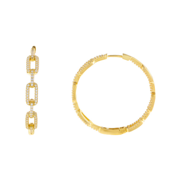 Gold Pavé Open Link Hoop Earring - Adina's Jewels