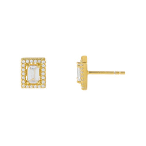 Gold Illusion Baguette Stud Earring - Adina's Jewels