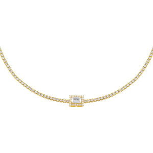 Gold CZ Baguette Tennis Choker - Adina's Jewels