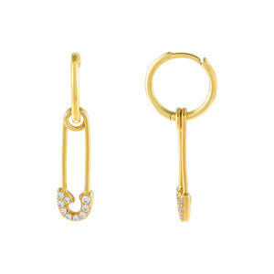 Gold Safety Pin Huggie Earring - Adina's Jewels