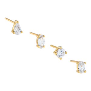 Gold CZ Multi Stone Stud Earring Combo Set - Adina's Jewels