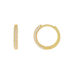 Gold Thin Pavé Huggie Earring - Adina's Jewels