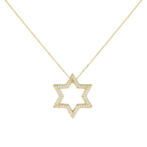Gold Pavé Open Starburst Charm Necklace - Adina's Jewels