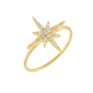 Gold / 6 Pavé Large Starburst Ring - Adina's Jewels