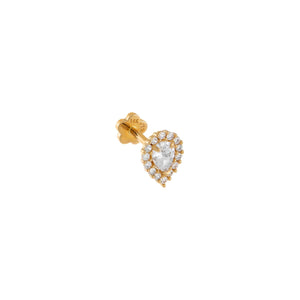 14K Gold / Single CZ Teardrop Threaded Stud Earring 14K - Adina's Jewels