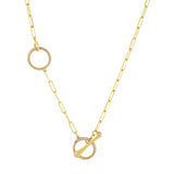 14K Gold Diamond Toggle Link Lariat 14K - Adina's Jewels