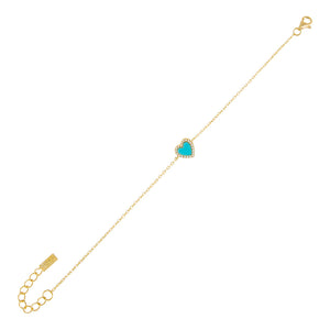 Turquoise CZ Mini Heart Bracelet - Adina's Jewels