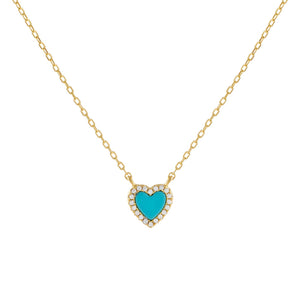 Turquoise CZ Mini Heart Necklace - Adina's Jewels
