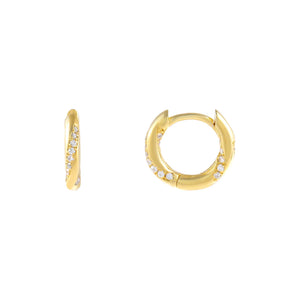 Gold CZ Wrapped Huggie Earring - Adina's Jewels