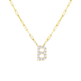 Gold / B Large CZ Uppercase Initial Link Necklace - Adina's Jewels