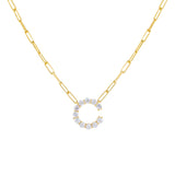Gold / C Large CZ Uppercase Initial Link Necklace - Adina's Jewels