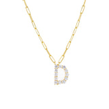 Gold / D Large CZ Uppercase Initial Link Necklace - Adina's Jewels
