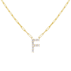 Gold / F Large CZ Uppercase Initial Link Necklace - Adina's Jewels